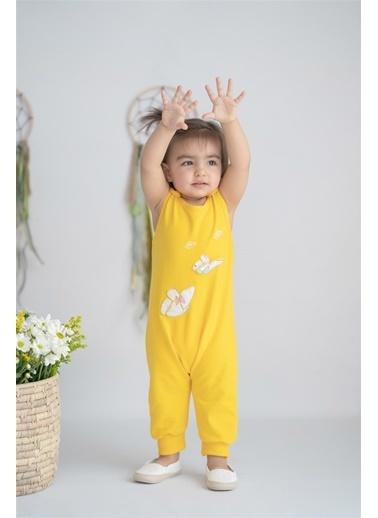Nila Kids Hello Sunshine Butterfly Organik Kız Bebek Tulum Sarı